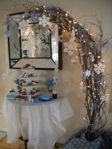 Winter Wonderland party Would be pretty around my inset in the wall of the dinning room
