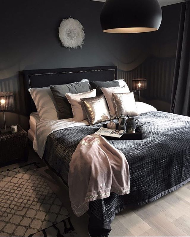 Cozy Mod Bedroom With Dark Gray Bedspread And Pink Accents