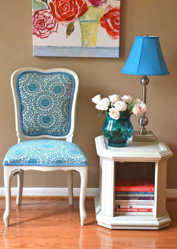 Vintage Accent Chair Upholstered in Aqua Fabric by parsonsparlor..on Etsy and she can do other prints.