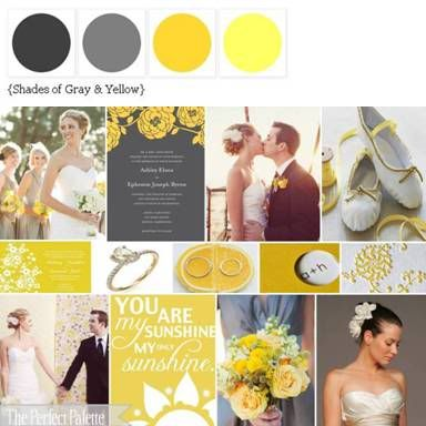Yellow and grey wedding, love the invites!