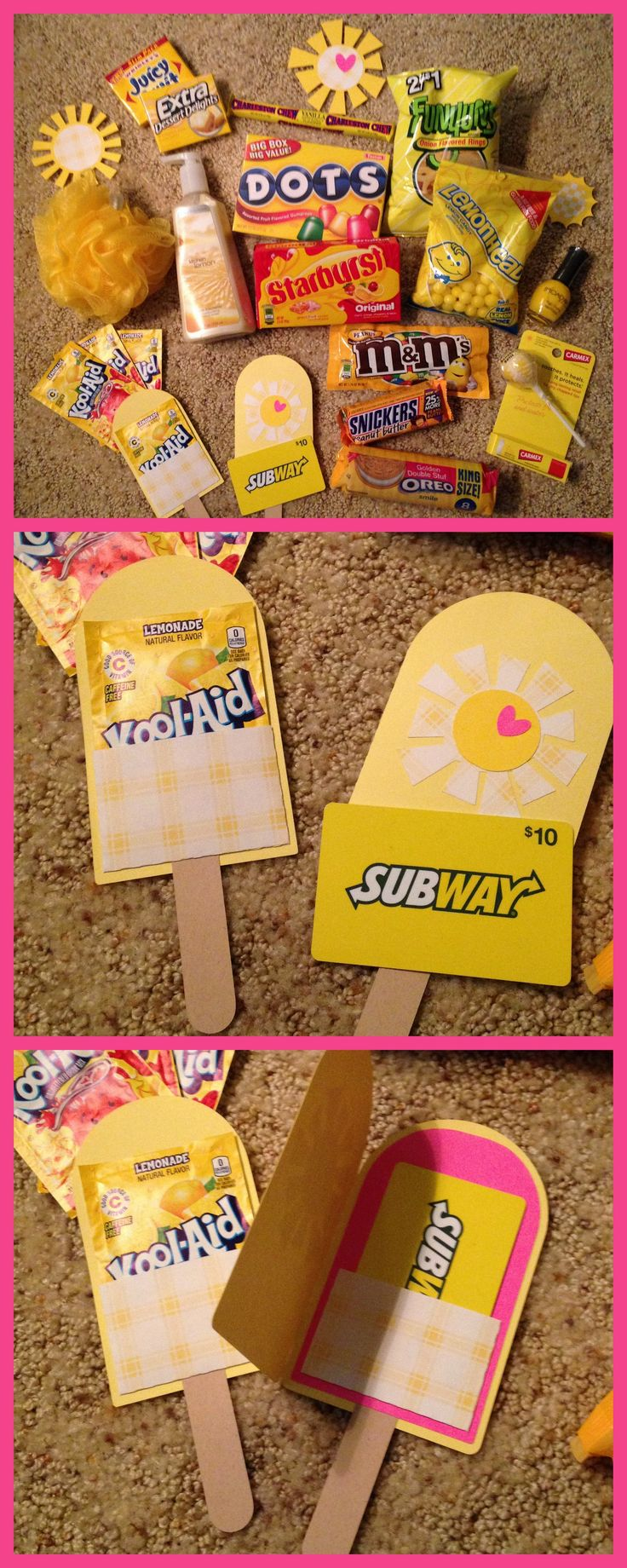"""Box of Sunshine ~ Sent to my Bestie :) Items included:  2 packs of Gum, Dots, Charleston Chew, Kool-Aid, Lemon Hand Soap, Funyuns, Lemon Heads, Starbursts, Bath Scrubbie,  M&Ms, Snickers, lip balm, nail polish, vanilla Oreos, sucker & Subway gift card.  Added paper suns, yellow shreds and a cutout """"Hello, Sunshine!"""" to the box.  Wrapped box in yellow gift wrap, added suns and mailed it! :)"""