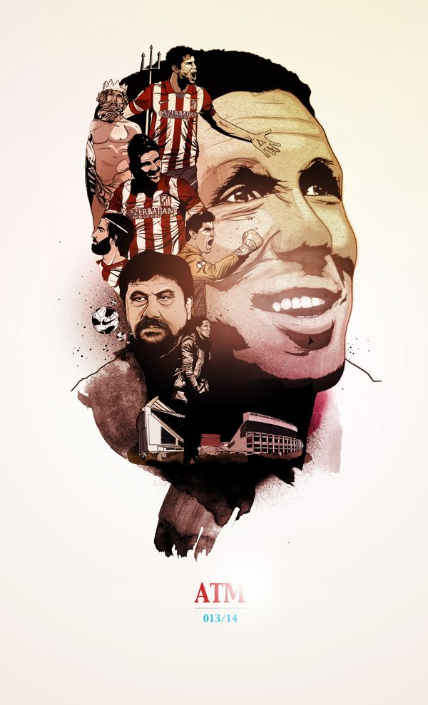 Atlético de Madrid 2013/014. Cholo by oscar llorens, via Behance