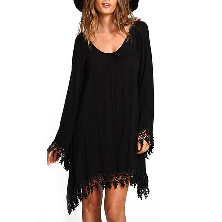 2016 Autumn Women Ladies Casual Loose Long Sleeve Tassel Black Party Dress vestidos Summer Boho Beach Maxi Office Dresses