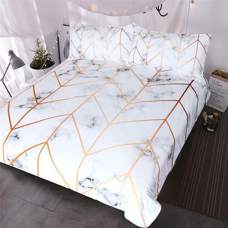 Blessliving Marble Texture Bedding Set Black White Golden Duvet