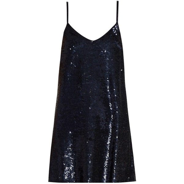 Ashish Sequin-embellished silk-georgette mini dress (€895) ❤ liked on Polyvore featuring dresses, vestidos, navy, navy sequin dresses, navy blue cocktail dresses, blue cocktail dresses, short dresses and navy dresses
