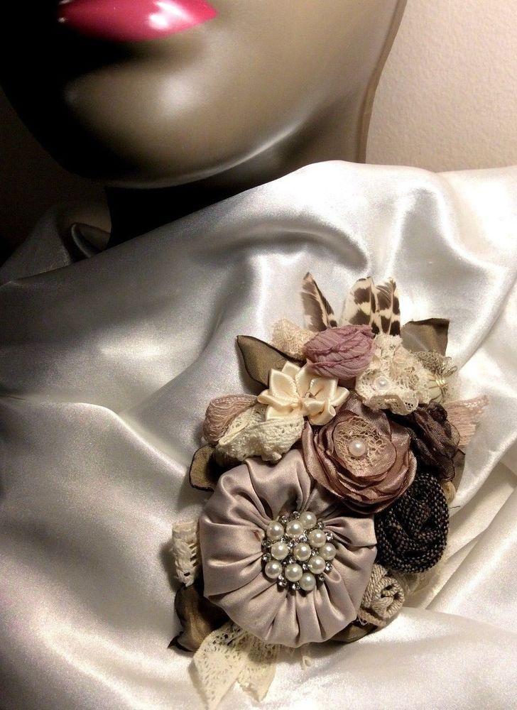 Vintage Wedding corsage bride wrap sash pin nude blush pink linen silk brooch xl