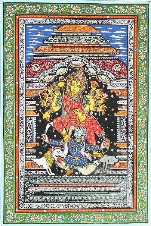 Devi Durga Slaying Demon Mahishasura (Orissa Paata Painting on Canvas - Unframed))