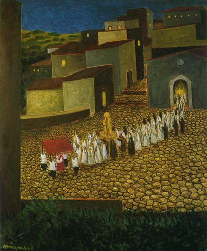 Giuseppe Migneco La processione, 1950 Olio su tela, cm 80x6