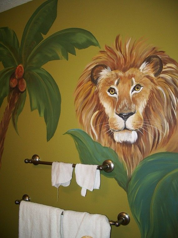 Kids room  Mural, Safari Mural, custom murals, Animal art,  Birdwall art,  Lion painting, Giraffe