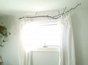 Tree branch curtain rod
