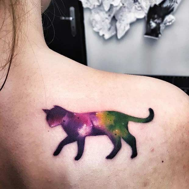 Watercolor Cat Back Tattoo