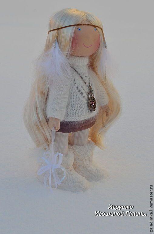 Купить Девочка с Севера - белый, девочка с севера, текстильная кукла, авторская кукла, подарок, трикотаж