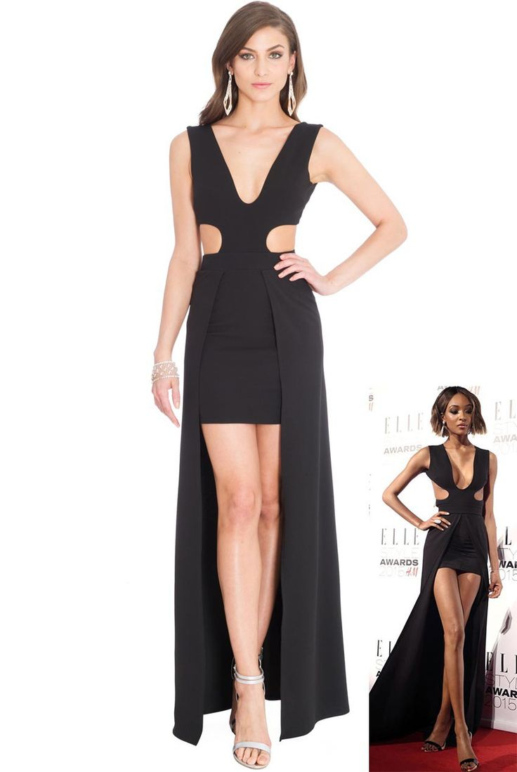 V Neckline 2-in-1 Maxi Dress - Black - Front - DR570