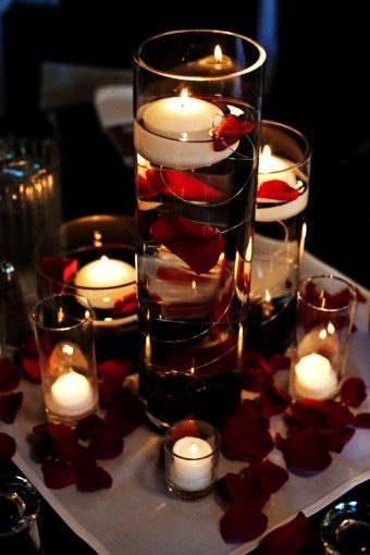 Rose Flower Petals Floating Candle Light Vase Wedding in 2015 Christmas - Centerpiece Tall Glass Candle Holders - LoveItSoMuch.com