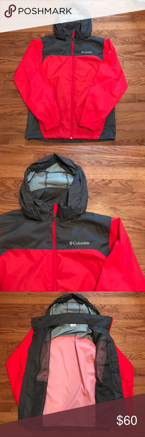 Men's Columbia Rain Jacket NWOT!! Great condition men's rain jacket from Columbia. It is red and gray with a full zipper. The hood packs away into the collar for when it's not needed. Great item!! Columbia Jackets & Coats Raincoats