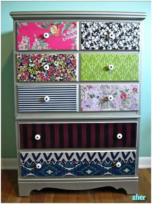 Use mod podge to adhere fabric to dresser and then go over it with a finishing spray
