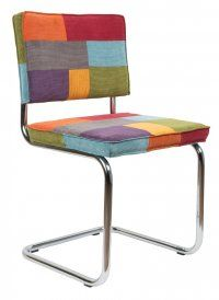 Détails Chaise Zuiver RIDGE RIB velours patchwork piétement chromé