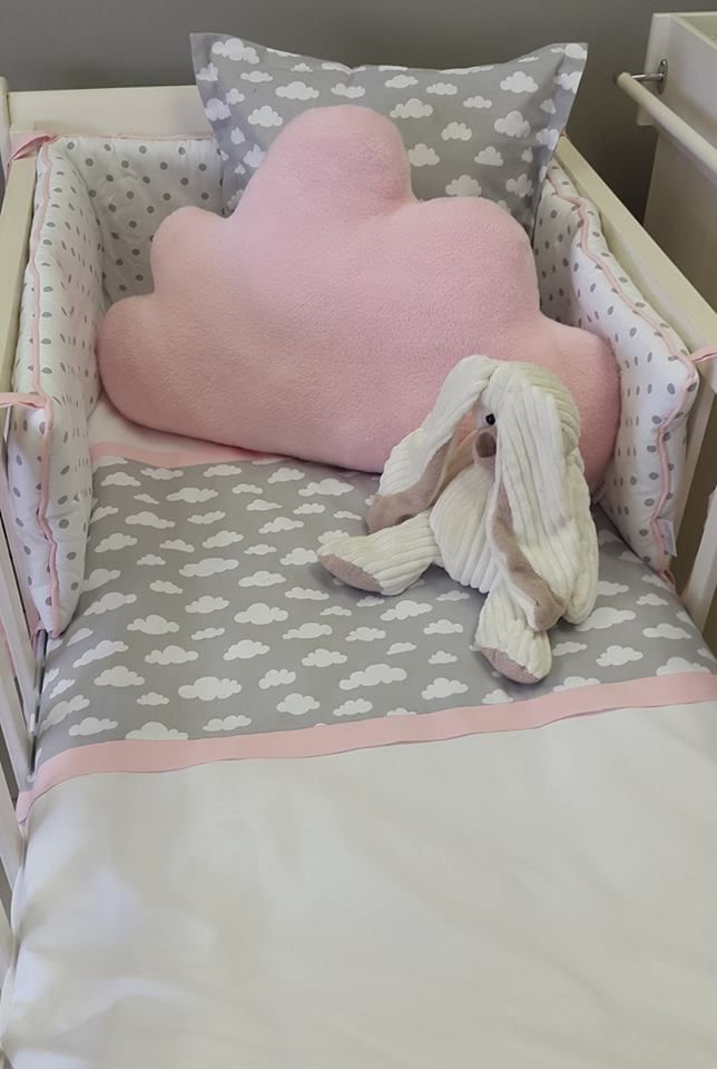 Our #Clouds fabric is perfect to match with #Pink, to make that little #DreamLand for any #BabyGirl!  #BabyBedding #BabyLinen #CloudCushion