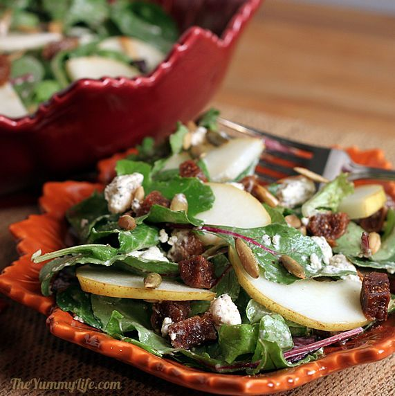 Harvest Salad with Pears, Dried Figs, and Pepitas. Have had a salad similar to this at Dewey's Pizza in Cincy & Dayton. Awesome....