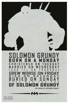solomon grundy poem - Google Search