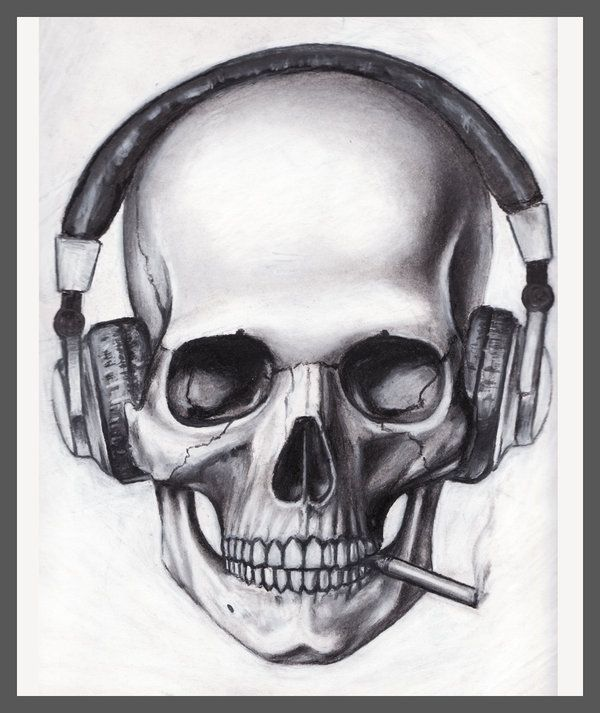 Skull Headphones Cigarette by pleasenojunkthanks.deviantart.com
