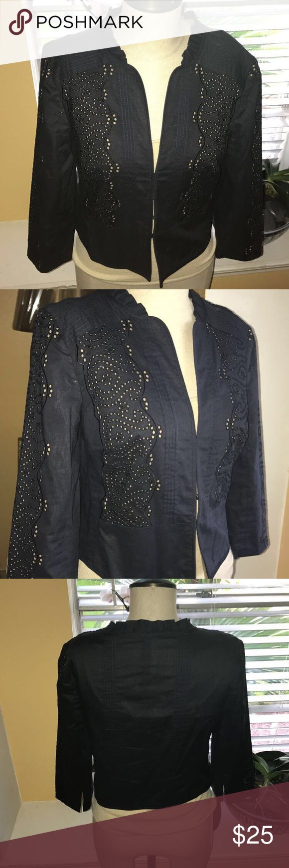 Ann Taylor Loft short navy/kaki blue blazer vest Ann Taylor short navy blue/kaki blazer interior size 2 Ann Taylor Jackets & Coats Blazers