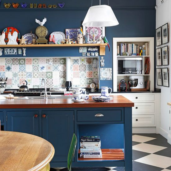Navy Blue Kitchen With White Cabinets