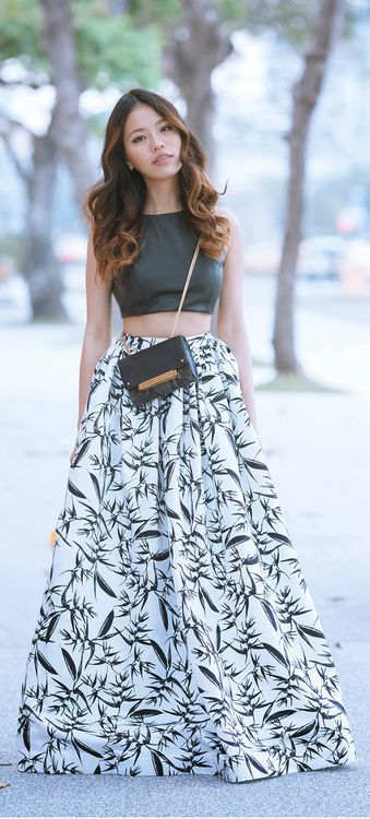 Wearing the Lorita Leather Cropped Fitted Tank with the Abella Printed Pleated Ballgown Skirt