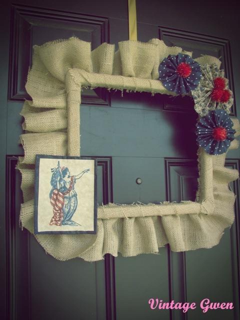 Patriotic Burlap Frame: Seasonal Wreaths, Burlap Wreaths, Square Wreath, Decoration, July Door, Burlap Frames, Crafty Inspiration, Craft Ideas, Door Frames