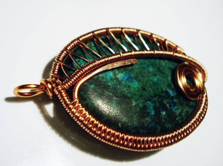 Chrysocolla Wire Wrapped Pendant by IALINA