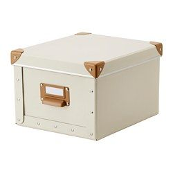 IKEA - FJÄLLA, Box with lid, off-white, 8 ¾x10 ¼x6 ¼