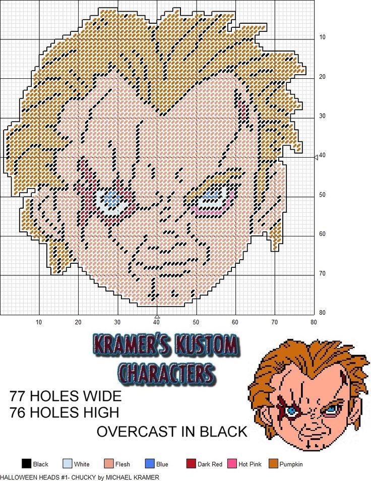 Horror Heads #1- Chucky plastic canvas pattern by Michael Kramer