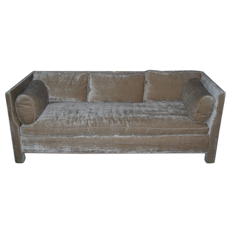 Billy Baldwin Sofa  USA  20th Century  A spectacular sofa by one of the most accomplished designers of the 20th Century.    The scale, proportion, and comfort is unrivaled.    Down cushions upholsterd in a cotton/silk velvet.