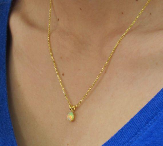 Opal Necklace October Birthstone Opal Jewelry Opal Pendant