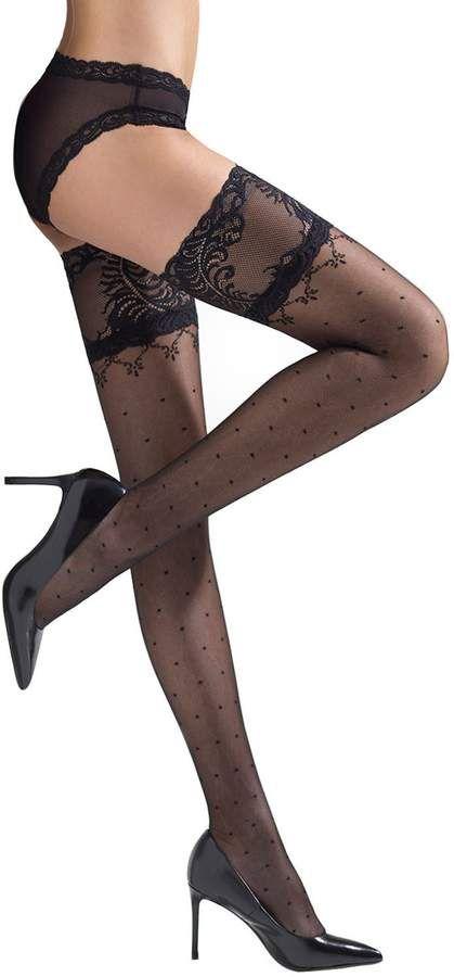 d864f8c2d10 Natori Diamond Dot Stay-Up Thigh Highs - Shop at www.fashion-tights.net   tights  pantyhose  hosiery  nylons  legs