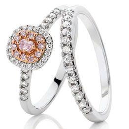 18Ct White Gold Pink Diamond Emerald Cut 0.15Ct 8Pr Centre Ring W/ 10 Pink Dia 0.065Ct 8Pr Border Set In Rose Gold And White Diamond 0.20Ct Hi/P1 Set Double Border and Shoulders Tdw= 0.42Ct.