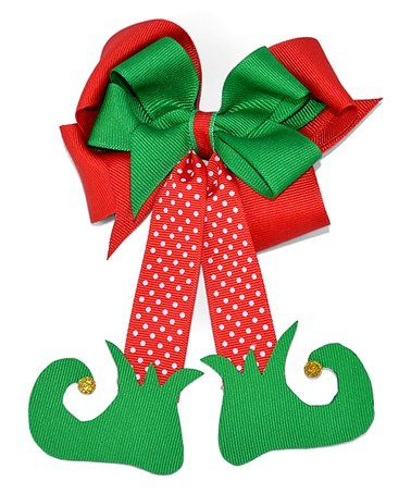 This Green & Red Elf Legs Bow Clip is perfect! #zulilyfinds