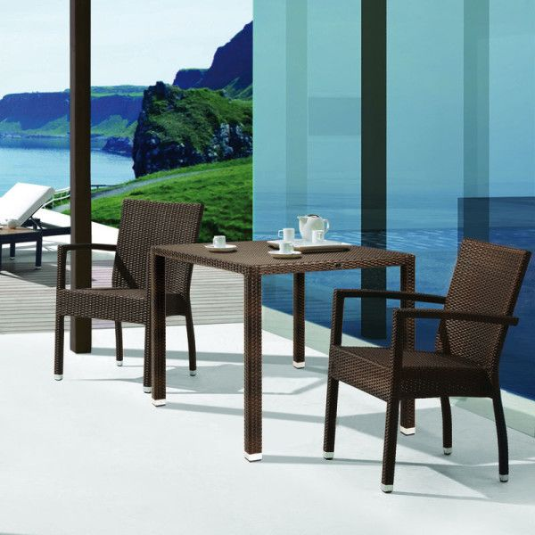 Piazza 90x90cm Outdoor Dining Table. Simple yet beautiful with its modern square lines. Perfect set for dining, relaxing and entertaining. No glass needed!