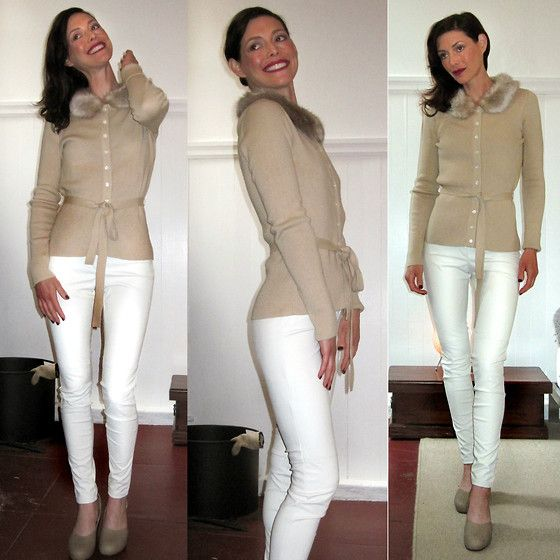 Sweater Research   Winter White Faux Leather Skinny Jeans (by K ...