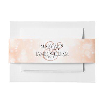Elegant Wedding Rose Gold Shimmer Lights Invitation Belly Band - classy gifts custom diy personalize