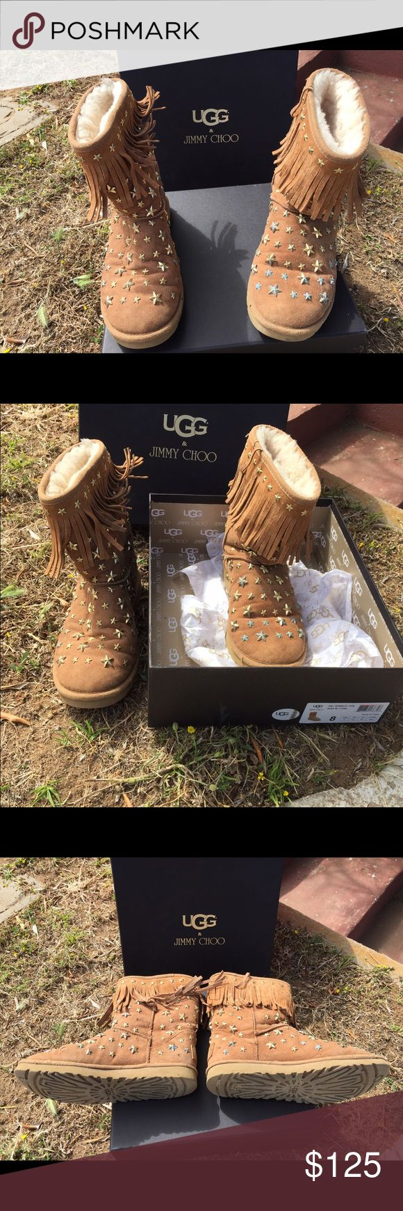 Jimmy Choo Uggs UGG and Jimmy Choo combined to make these amazing star studded boots. Original retail around $600. These are pre owned boots size 8. Jimmy Choo Shoes Heeled Boots