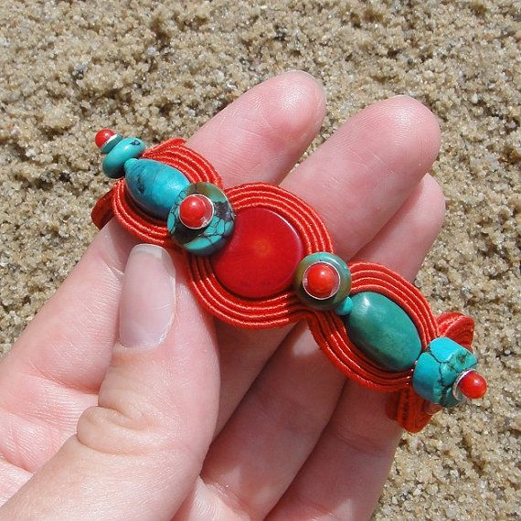 Bracelet soutache Rudo  Coral and natural by BlueButterflybizu