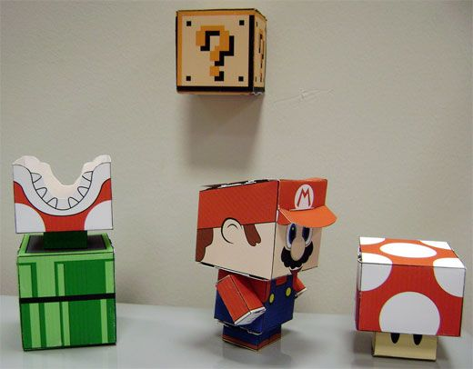 Glen would get a kick out of these! You can grab these DIY paper cut-out Mario, Piranha Plants, question mark blocks and a variety of tasty mushrooms over at CubeeCraft – where everyone has a square head.