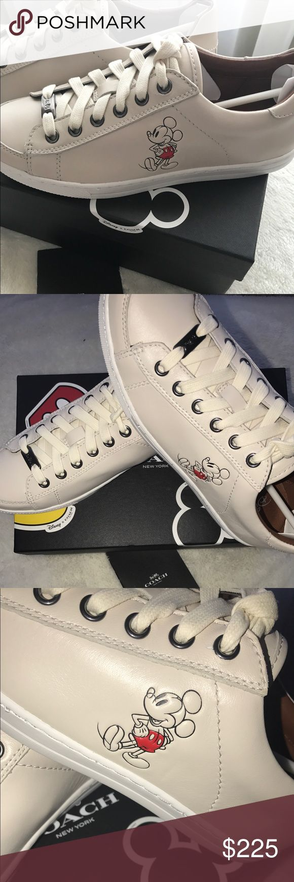 Authentic Disney Coach Porter Sneakers Price Firm unless bundled Limited Edition Coach Disney Leather Sneaker : Color Chalk Coach Shoes Sneakers