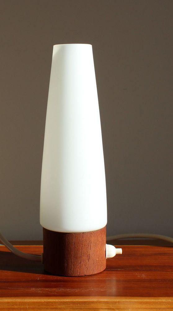 Nacht Tisch Lampe Teak Glas Metall 23cm Hoch Leuchtet 60er Danish Style