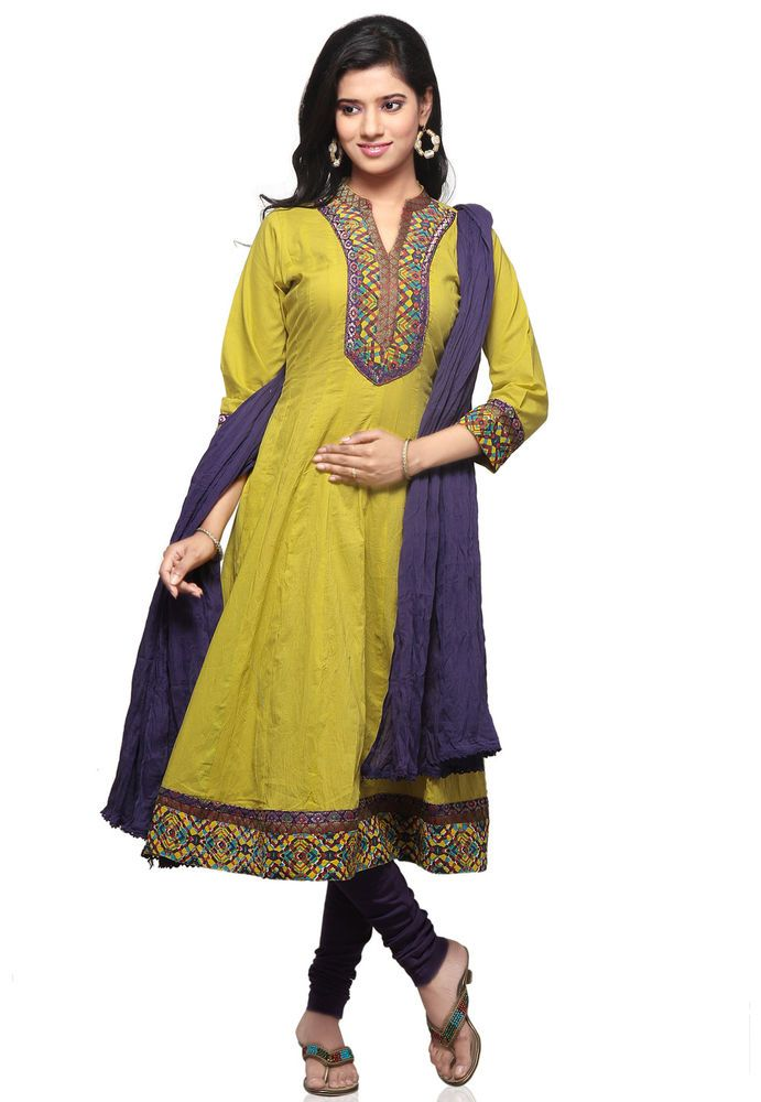 Mustard Cotton Readymade Anarkali Churidar Kameez 0007 | eBay