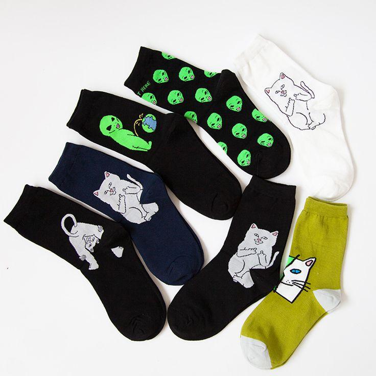 Cotton Crew Socks Women Men of RIPNDIP Alien Cat Pattern
