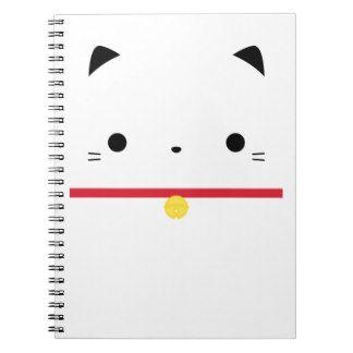 Cuaderno lindo de la cara del gato de Kawaii