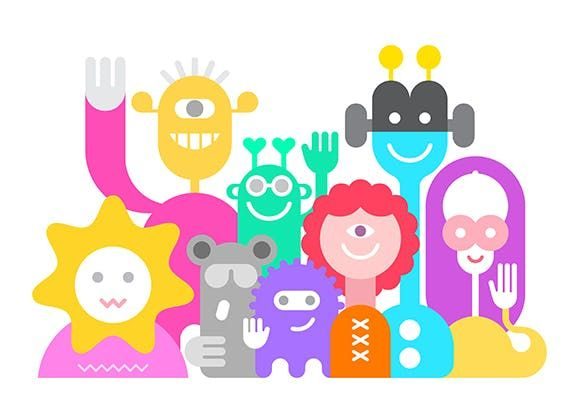 Cheerful Aliens Vector Illustration AI, EPS #unlimiteddownloads