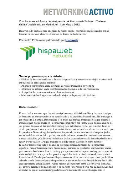 """Conclusiones e informe de inteligencia del Desayuno de Trabajo : """"Turismo Online"""", celebrado en Madrid, el 14 de Marzo 2012. ..."""